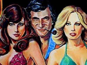 Hugh Hefner with 1976 Playmate Patti McGuire and 1977 Playmate Sondra Theodore
